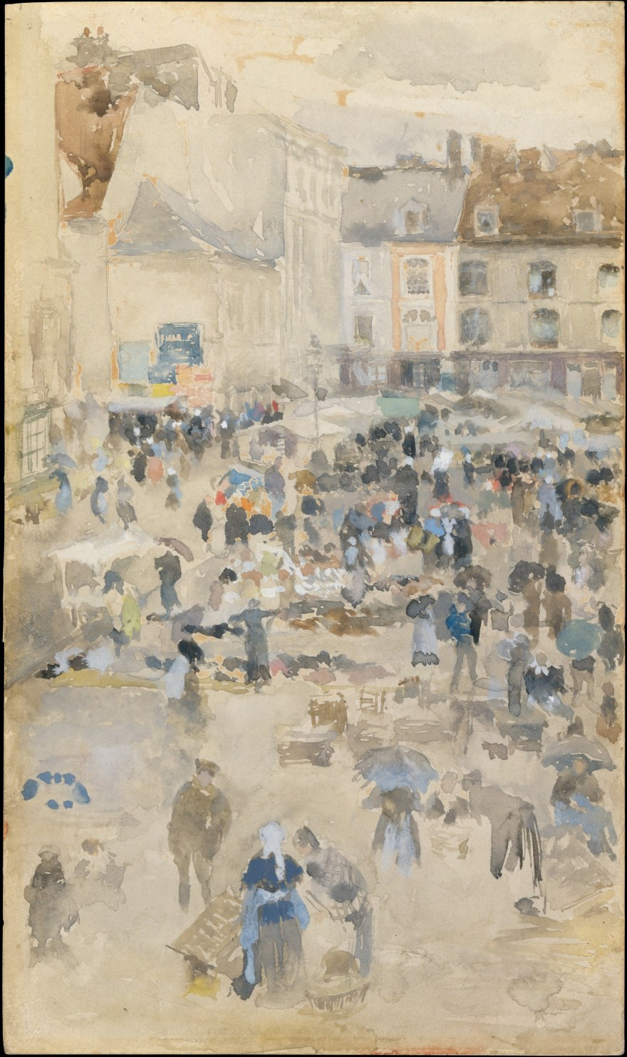 Società – James Abbot McNeill Whistler- Variations in violet and grey-Market place, Dieppe – (1885) – MOMA
